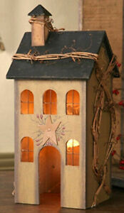 Country Primitive Tan Saltbox House Lamp Light Tin Star Grapevine Berry