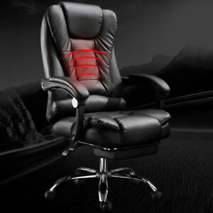 Office Chair Leather Desk Gaming Chair With Massage Adjust Height Computer Seat