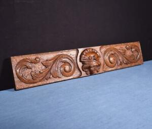 French Antique Carved Architectural Panel Solid Oak Wood With Face Salvage