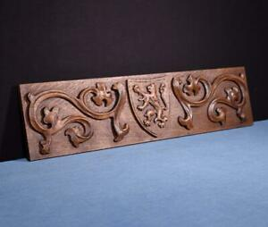 Vintage French Panel In Solid Oak Wood W Coat Of Arms Salvage