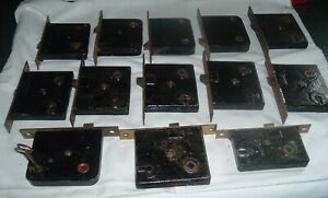 Lot Of 13 Antique Hardware Salvaged Mortise Locks Yale Brass Face Entry Door