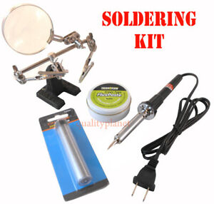 New 60w Soldering Iron 20g Solder Flux Paste Helping Hand Soldering Tool Kit