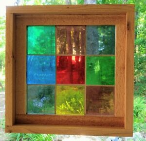 Framed Vintage Mouth Blown Stained Glass Panel Squares