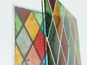Vintage Mouth Blown Stained Glass Panel Unframed Diamonds