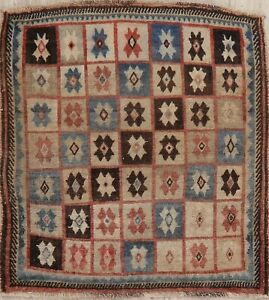Antique Panel Tribal Worn Pile 4 Square Area Rug Oriental Hand Made Warm Color