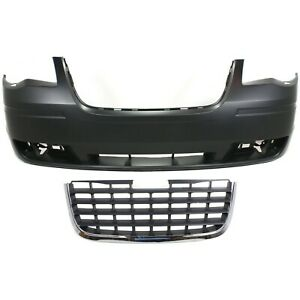 Bumper Cover Kit For 2008 2010 Chrysler Town And Country Front 2pc With Grille