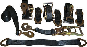 4 Axle Strap Tie Downs 24 Long And 4 Ratchet Tow Straps Car Haulers Black