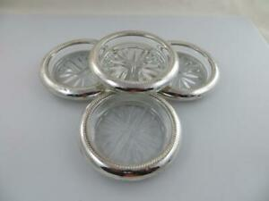 4 Drink Coasters Sterling Silver And Glass Fb Rogers Silver Co Used Condition