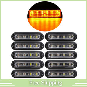 10x 6led Amber Rooftop Truck Trailer Emergency Strobe Light Bar Hazard Warn Lamp