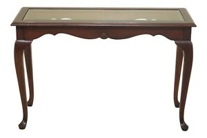 47635ec Cherry Queen Anne Sofa Or Hall Table W Glass Top