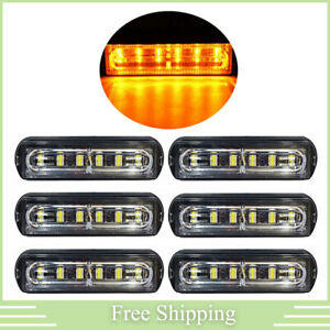 6x 6led Amber Rooftop Truck Trailer Emergency Strobe Light Bar Hazard Warn Lamp