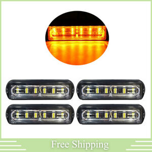 4x 6led Amber Rooftop Truck Trailer Emergency Strobe Light Bar Hazard Warn Lamp