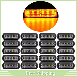 20x 6led Amber Rooftop Truck Trailer Emergency Strobe Light Bar Hazard Warn Lamp