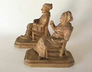 Andre Bourgault Pair Hand Carved Wood Man Woman On Rocking Chairs 6 5 Quebec