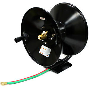 Manual Retractable Twin Hose Reel For 100ft 30m Oxygen Acetylene Welding Hoses