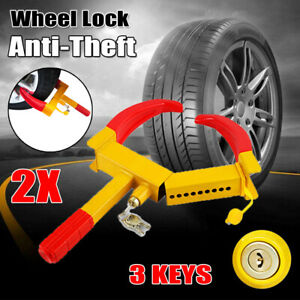2x Wheel Lock Clamp Parking Boot Tire Claw Truck Car Suv Atv Anti Theft Towing