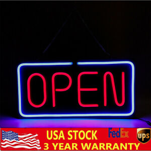 Neon Open Sign 24x12 Inch Led Light Horizontal Pubs Decorate W hanging Chain New