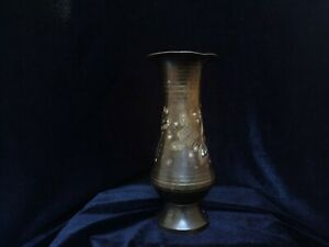 Old Arts And Crafts Hammered Etched Copper Vase