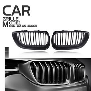 For Bmw E46 Sedan Touring 2001 2005 Gloss Black Double Line Kidney Grille Grill