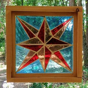 Framed Vintage Mouth Blown Stained Glass Panel Star