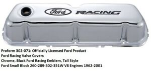 Proform 302 071 Ford Racing Valve Covers Chrome Small Block Ford Engines
