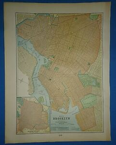 Vintage 1895 Brooklyn New York Map Old Antique Original Atlas Map