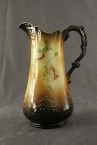 Antique Porcelain China Ioga Warwick Poppy Floral Brown Gradient Vase Pitcher