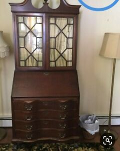 Vintage Mahogany Chippendale Style Ball Claw Foot Secretary Desk