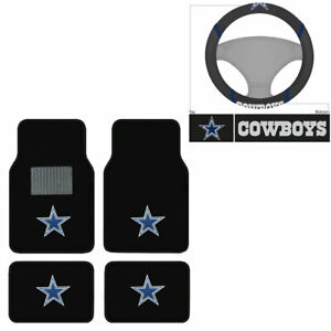 New 5pc Nfl Dallas Cowboys Car Truck Floor Mats Steering Wheel Cover Set