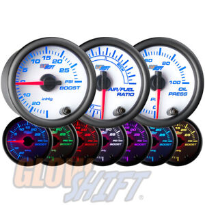Glowshift 52mm White 7 Color Boost vac Oil Pressure Air fuel Ratio Gauge Set
