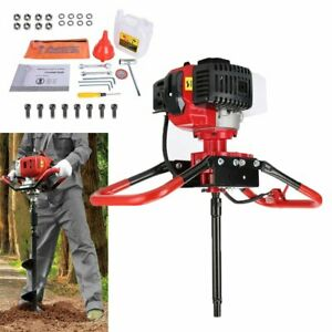 52cc 2 stroke Gasoline Gas One Man Post Hole Digger Earth Auger Machine 2 85hp