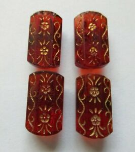 Exquisite Lot Of 4 Matching Antique Vtg Victorian Ruby Red Glass Buttons 3 4