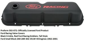 Proform 302 072 Ford Racing Valve Covers Black Small Block Ford Engines