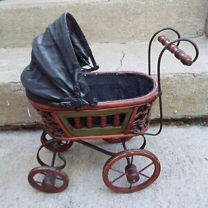 Vintage Wicker Baby Doll Carriage Buggy Stroller Folding Sunshade Home D Cor