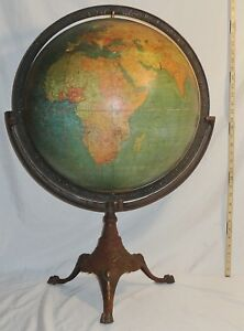 18 Antique W A K Johnston A J Nystrom Terrestrial World Globe W Stand 1926