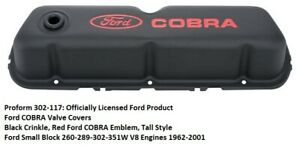 Proform 302 117 Ford Cobra Valve Covers Black Small Block Ford Engines