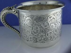 Wonderful Sterling Gorham Cup Mug W Engraved Floral Leaf Scroll Patterns