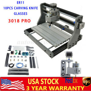 3018 Pro Cnc Machine Router 3 Axis Engraving Pcb Wood Carving Diy Milling Kit Us