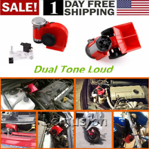 Us 12v Snail Compact Dual Tone Electric Pump Loud Air Horn Red Motorcycle Car
