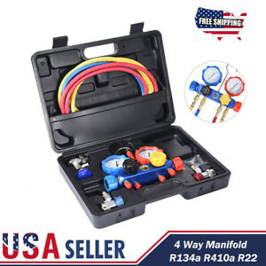 4 Way Air Vacuum Pump Hvac Refrigeration Kit Ac Manifold Gauge Set R134a R410a