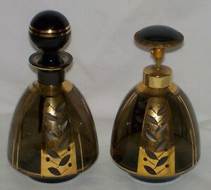 Art Deco Czech Perfume Bottle Set Black And Gold Glass