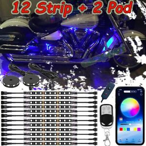 14pcs Multi Color Motorcycle Led Neon Under Glow Body Lights Strip Motorbike Kit