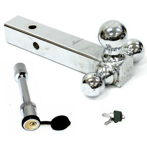 Tri Ball Chrome Trailer Tow Solid 2 Shank Hitch Receiver W 5 8 Key Lock Pin
