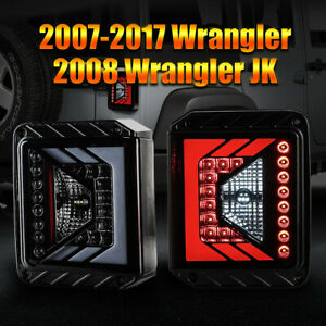 For 07 17 Jeep Wrangler 08 Jk Full Led Tail Lamps Assembly Lacquer Housing Smoke