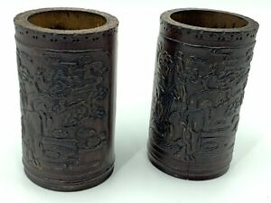 Set Of Two Antique Chinese Carved Bamboo Brush Pot Immortals Japanese Tree