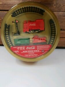 Vintage Coca Cola Popcorn Tin & Battery Operated Train Set Collectable