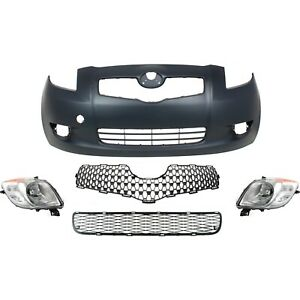 Bumper Cover Kit For 2007 2008 Toyota Yaris Front 5pc