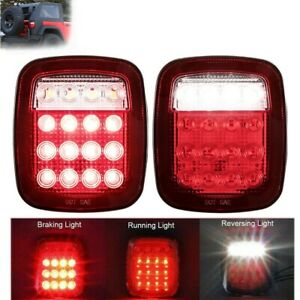 Led Tail Lights Rear Brake Lamps Stop Reverse For Jeep Wrangler Tj Cj