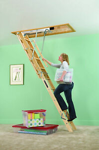 Wooden Attic Ladder Pull Down Stair Way Loft 8 10 foot Ceiling Height 250lbs New