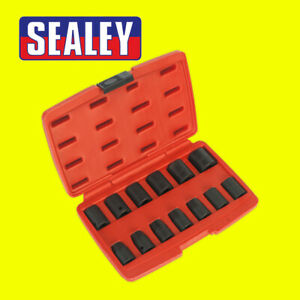Sealey Air Impact Wrench Socket Set 13 Piece 1 2 Square Drive Metric 10 24mm